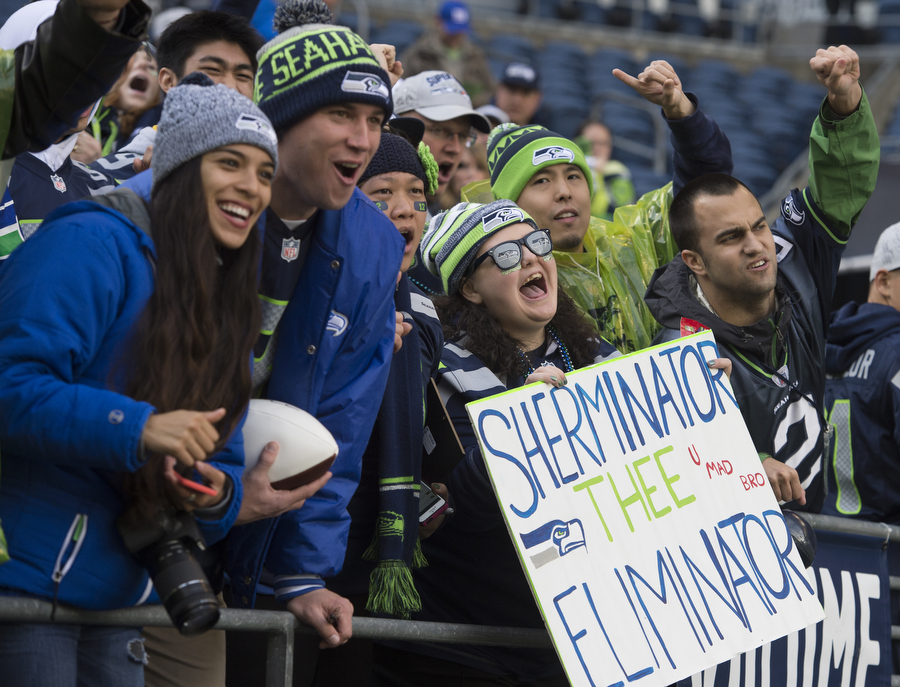 Fans cheer on the Seahawks on Sunday, Nov. 9, 2014 at CenturyLink Field.